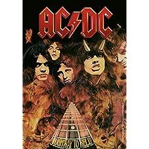 Heart Rock bandera original AC/DC Highway to Hell, tela, multicolor, 110x 75x 0.1cm