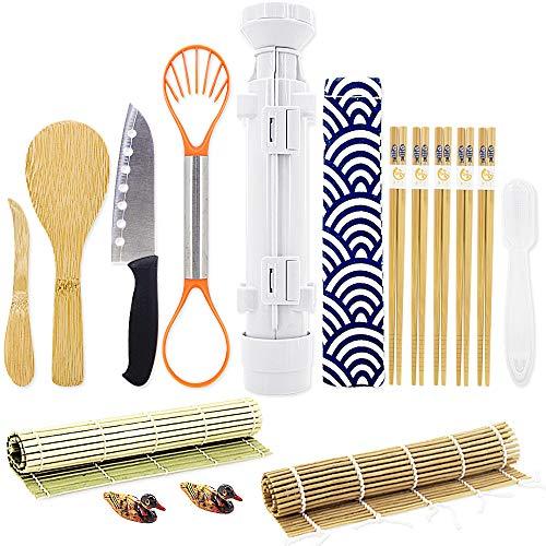 Messer-roll-set (Sushi Making Kits - All in One Sushi-Roll-Bazooka-Maker mit 2 Bambus-Matten, 5 Paar Bambus-Essstäbchen, Sushi-Paddle, Spreizer, Sushi-Messer, Stäbchen-Halter, Griff Onigiri-Form und Avocado-Schneider)