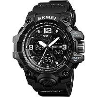 SKMEI 1327 Sports Dual Time Water Resistant Analogue - Digital Black Dial Men's Watch