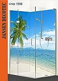 Eck - Duschrückwand, 2 Segmente je 90x200cm, Motiv: Strand Palme - KOSTENLOSER Zuschnitt auf Ihr Wunschformat !