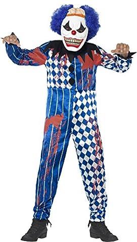 Smiffy's Tween Boy's Deluxe Sinister Clown Costume, Jumpsuit, Foam Mask