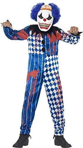 Smiffy's 44327l - deluxe sinister clown costume blu con la tuta eva maschera ad esso collegata cervello & capelli, l