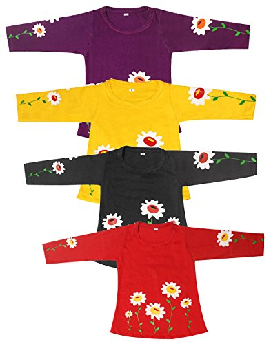 Babeezworld Baby Girl'S Printed Cotton Full Sleeves Vest Tshirt Jhabla Top (Kids Combo Pack Set Of 1)5011298000130
