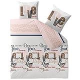 CelinaTex Touchme Jana Biber Bettwäsche 200 x 200 cm 3-teilig weiß rosa grau rot Flauschiger Bettbezug Schriftzug Love 0004070