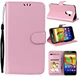 Danallc Alcatel A30 Wallet Multi Card Holder Design Shell Folio PU Leather Cover With Shell Case Compatible With Alcatel A30 - Pink