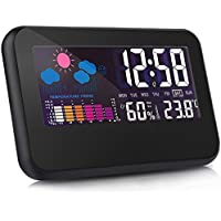 Otao Digital Hygrometer Room Thermometer Large LCD Screen Voice Control Backlight Alarm Clock Humidity Gauge Indoor Temperature Humidity Monitor Sensor Humidity Meter with USB Cable (adapter not included)