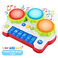 SGILE Early Education Piano&Drums Instrument - Gift Toys for 3 Year Old Kids with 4 Musical Modes, Animal Sounds and Light