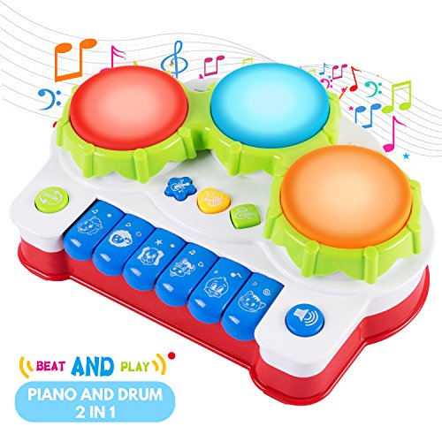 SGILE Early Education Piano&Drums Instrument with 4 Musical Modes, Animal Sounds and Light for Kids