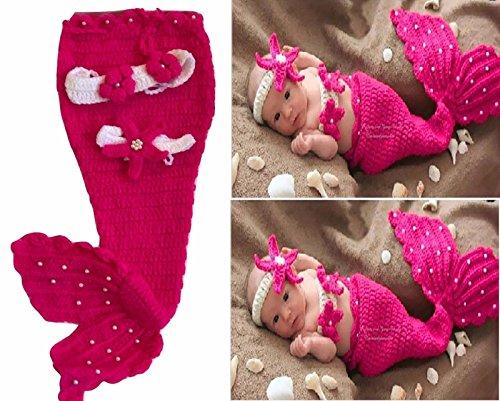 Meerjungfrau, Neugeborenes Baby / Junge Häkelarbeit Strick Kostüm Foto Fotografie Stütze Hüte Outfits (Rosa) (Meerjungfrau Kind Kostüme)