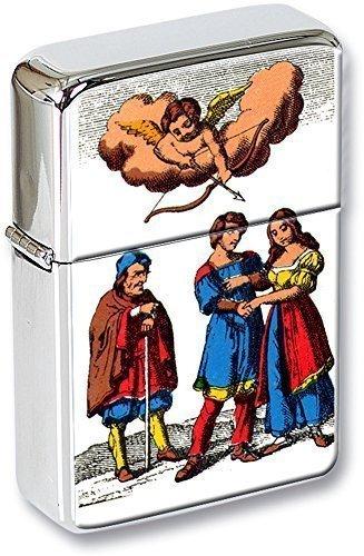 Tarot (L'AMOUREUX, THE LOVERS) Mechero con tapa EN UNA LATA DE REGALO