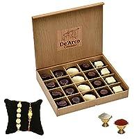 De'Arco Chocolatier Premium Luxurious Rakhi Gift Chocolate Box, Rakhi Gift Hamper for Brother, 20pcs + Free 2 Rakhi + Free Roli Chawal