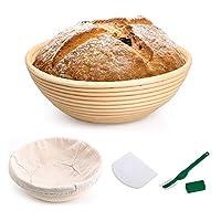 سلة الخبز بانيتون – سلال راتان مستديرة للعناية بالخبز ومجموعة مقاومة للحروق مع بطانة من القماش لوعاء خبز العجينات، هدايا لمحترفي صناعة الخبز للمبتدئين في صنع الخبز في المنزل