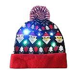 POLP Mujeres navideña Gorro navideño navideña Sombrero de Navidad Gorros de Fiesta Accesorios para Fiestas Punto Hat Invierno Regalo Hombre Gorro de luz LED de Punto para Mujer Navidad