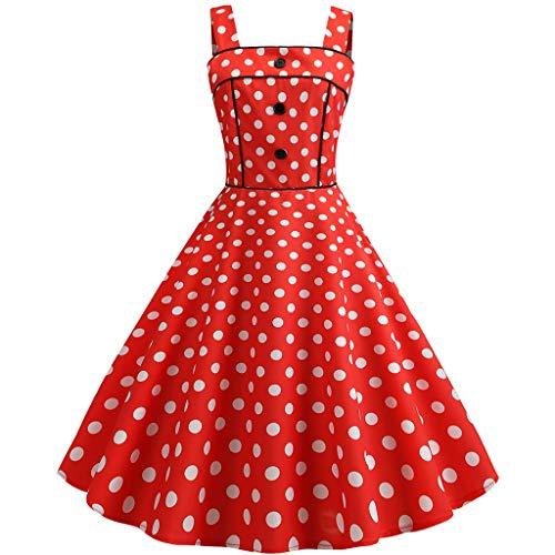 AIni Damen Vintage ÄRmelloses Elegant 50er Jahre Petticoat Kleider Gepunkte Rockabilly Kleider Cocktailkleider Partykleid Ballkleid Festkleid - Herren Beige Kleid Hose