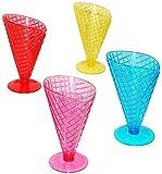 alles-meine.de GmbH 2 Stück _ Eisbecher -  3-D Waffel - Optik - BUNT  - Dessertschale / große Schale mit Fuß / Ständer - aus Kunststoff / Plastik - Schale - Dessertbecher - EIS..