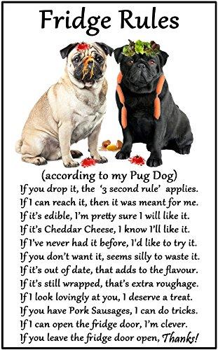Pug Dog Gift (nero e Fawn)-Frigo regole-grande divertimento flessibile frigo Dimensioni 16cms x 10cms (ca. (Pug Christmas Stocking)