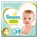 Pampers - Premium Protection - Couches Taille 4 (8-16 kg/Maxi) - Pack Géant (x39 couches)