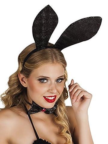 Karnevalsbud - Hasen Ohren Hut Haarreif Bunny, Schwarz