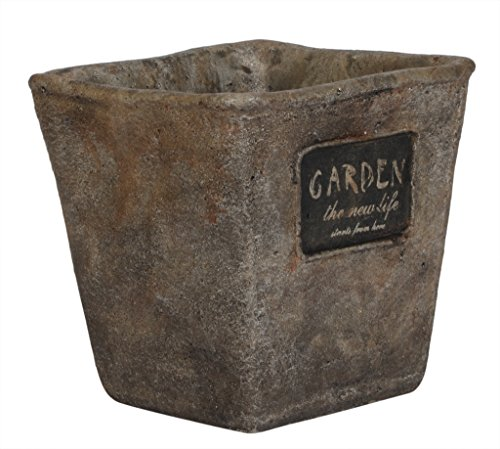 Scrafts grey square shaped tapered garden indoor/outdoor artificial/original Clay flower pot/planter with drainage hole for home décor/garden décor/wedding décor/party décor/hall décor. LWH (cms) = 10x10x10  available at amazon for Rs.275