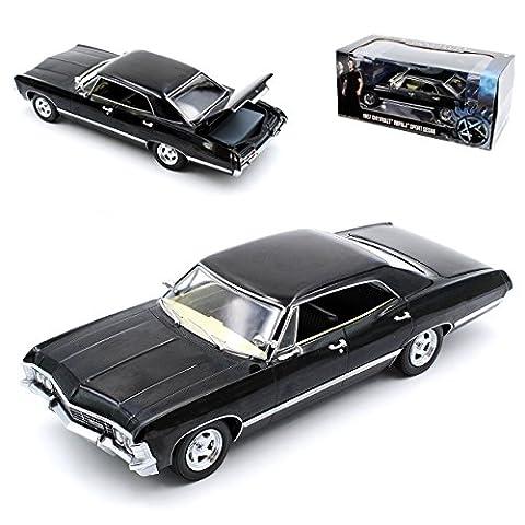 Chevrolet Impala Sport Sedan Limousine Schwarz Supernatural Join The Hunt 1965-1970 1/24 Greenlight Modell Auto mit individiuellem Wunschkennzeichen