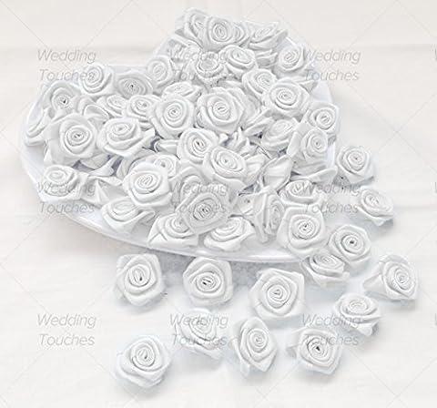 White 25mm Satin Ribbon Rose Flowers Decorative Craft Flowers (50)