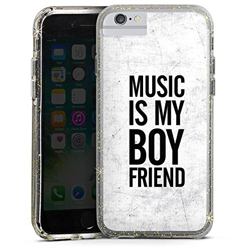 Apple iPhone 6 Bumper Hülle Bumper Case Glitzer Hülle Musik Music Love Bumper Case Glitzer gold