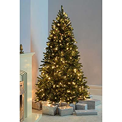WeRChristmas Craford Pine Cone Pre-Lit Multi-Function Christmas Tree Warm White LED Lights/ 8 Setting Controller/ Easy Build Hinged Branches