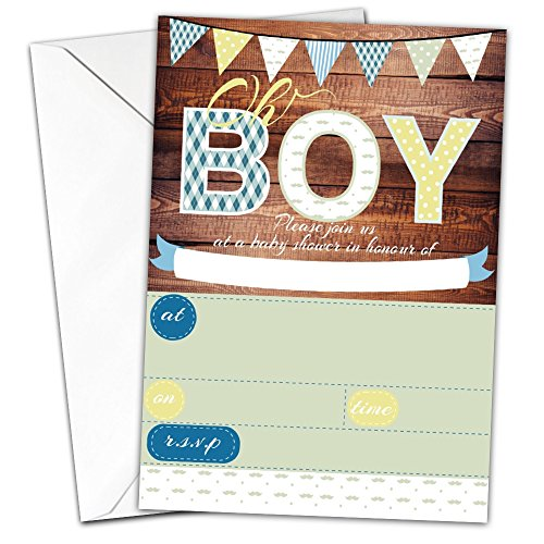Oh Boy Pack Of 20 Glossy Wood Boy Baby Shower Invitations With