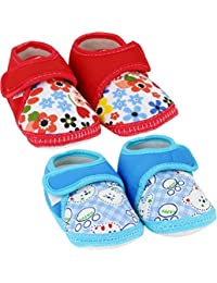 Neska Moda Baby Boys and Girls Beige Dotted Cotton Fur Booties For 0 To 12 Months Anti Slip