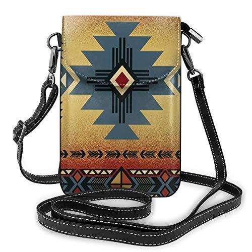 Indianer-Satteldecke, Muster, Leder, Mini-Umhängetasche, Handtasche für Frauen, Outdoor-Wandern, Sporttasche