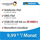 DeutschlandSIM LTE 2000 National [SIM, Micro-SIM und Nano-SIM] monatlich kündbar (3 GB LTE mit max. 50 MBit/s inkl. Datenautomatik, Telefonie-Flat, SMS-Flat, 9,99 Euro/Monat) preiswert