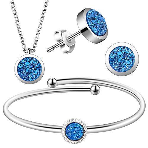 Lictin Halskette Armband Ohrstecker Natürliche Blaue Kristall Halskette Armband Ohrstecker Set Party Schmuck Valentinstag Geburtstag Geschenk für Damen Mädchen - Kristall Ohrstecker