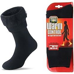 Homme Hiver Thermiques Chaussettes Chaudes Laine Épaisse Neige Chaussettes (Noir, EU 39-45)