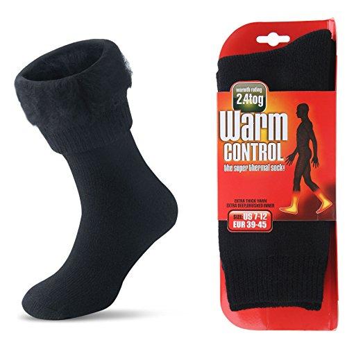 JARSEEN Herren Warme Winter Dicke Thermosocken mit Vollplüsch und Wolle Stiefel Socken (Schwarz, EU 39-45)