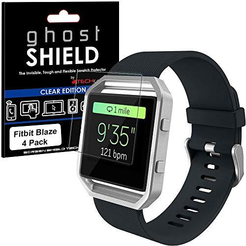 TECHGEAR [4 Stück Bildschirmschutz Kompatibel mit Fitbit Blaze - [ghostshield] Genuine verstärkte TPU Bildschirmschutzfolie Guard mit Gesamte Display Deckung inkl. Gebogener Bereich
