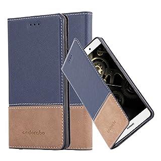 Cadorabo Hülle für Huawei P8 LITE 2015 - Hülle in BLAU BRAUN - Handyhülle mit Standfunktion und Kartenfach aus Einer Kunstlederkombi - Case Cover Schutzhülle Etui Tasche Book
