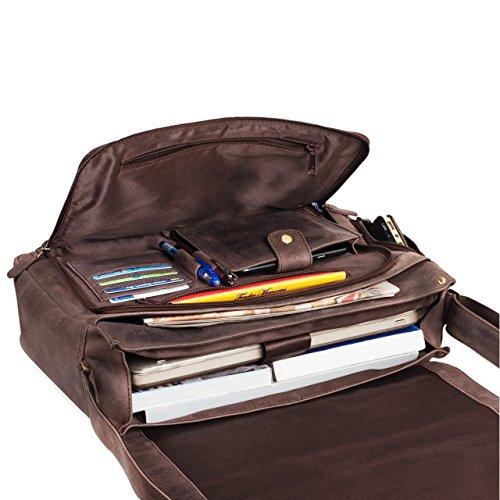 STILORD 'Tom' Vintage Borsa a tracolla in pelle da uomo donna Cartella porta PC 15 pollici documenti Messenger casual da viaggio in cuoio , Colore:siena - marrone marrone - moscato