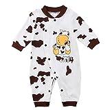 Binwwe Baby-Strampler Jungen oder Mädchen, LANG-ARM, Spiel-Anzug mit Druck-Knöpfen, Baby-Schlafanzug Grösse 100 für Neugeborene in weiß (12-18M, A)