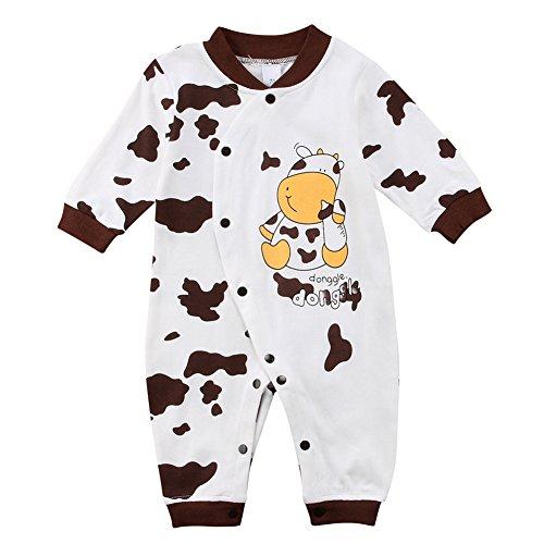 4 Knopf Herren Anzug (Binwwe Baby-Strampler Jungen oder Mädchen, LANG-ARM, Spiel-Anzug mit Druck-Knöpfen, Baby-Schlafanzug Grösse 100 für Neugeborene in weiß (12-18M, A))