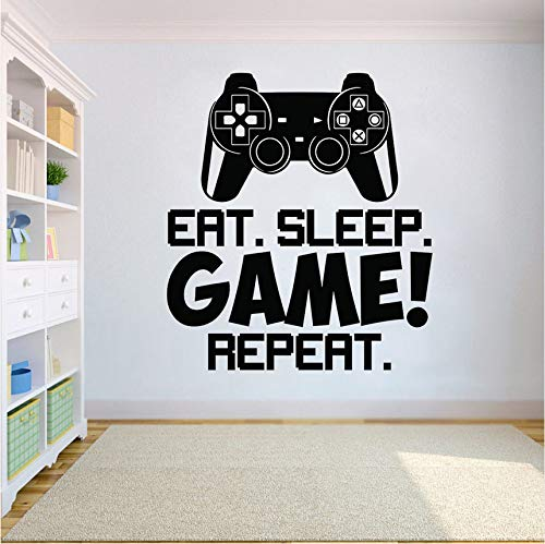 Wuyyii 56X63 Cm Game Controller Video Wand Eat Sleep Spiel Wiederholen Wand Wandkunst Kinderzimmer Dekor Vinyl Wall Poster Removable Wandbild Für Kindergarten