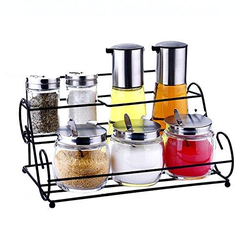 JD Regal Bleifreies Glas 2 Schichten 2 + 2 + 3 Anzug / 3 + 3 Anzug Küche Gewürzflaschen Gewürzregal Set Größe: 27 * 17 * 20 cm / 27 * 17 * 26 cm / 27 * 17 * 31 cm Haltbar (Farbe : A) - 2-schicht-anzug