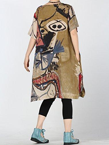 Vogstyle Damen Sommer Tunika Shirt Bluse Print Baggy Kleid mit Taschen Braun