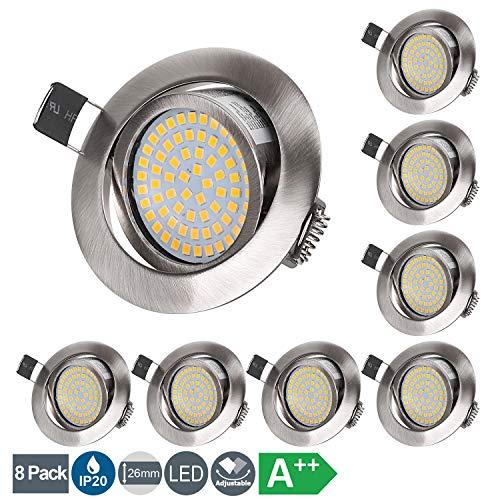 LED Einbaustrahler Flach 230V 5W LED Spots Schwenkbar Deckenspot Warmweiß 3000K, Runden Stahl IP20 Einbauspot für Wohnzimmer, Schlafzimmer, Küche, Büro - 8er Set