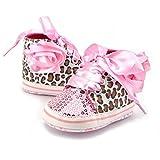 VLUNT Léopard Baskets Bébé, Paillette Chaussures avec Lacets pour Bébé Fille