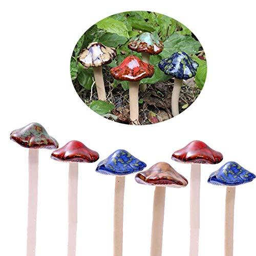 Bunte Gartenpilze, Fairy Garden Pilz Toadstool Keramik [ 4 Farbe 6 Stücke ] Garten Töpfe Dekoration Keramik Ornament für DIY Dollhouse Potting Shed Blumentopf Pflanzen Statue -