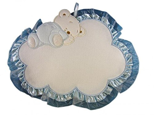 Fiocco nascita/coccarda nuvola con orsetto con aida da ricamare azzurro lavorato del tutto a mano