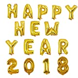 Yalulu 16 Zoll Happy New Year 2018' Folie Ballons Folienballon Dekoration Luftballons Silvester Neujahr Party Dekoration (Gold)