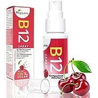 Vitamin B12 Spray | NEU: Sprühen statt Tabletten schlucken | LABORGEPRÜFT und ZERTIFIZIERT | Kirschgeschmack | nur 1 mal sprühen pro Tag | 250 µg Methylcobalamin pro Sprühstoß | Hohe Bioverfügbarkeit | 4 Monatsvorrat | Vegan | Vegavero: from Nature - with Passion - for You!