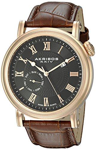 Akribos XXIV Hommes de montre à quartz avec affichage analogique et bracelet en cuir marron Cadran Noir ak673rg