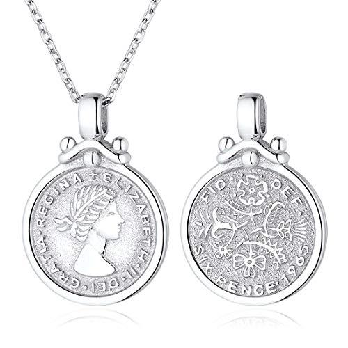 ChicSilver UK Queen Elizabeth Halskette für Frauen 925 Sterling Silber Münze Medaillon Six Pence Anhänger Boho Minimalist Schmuck ... -